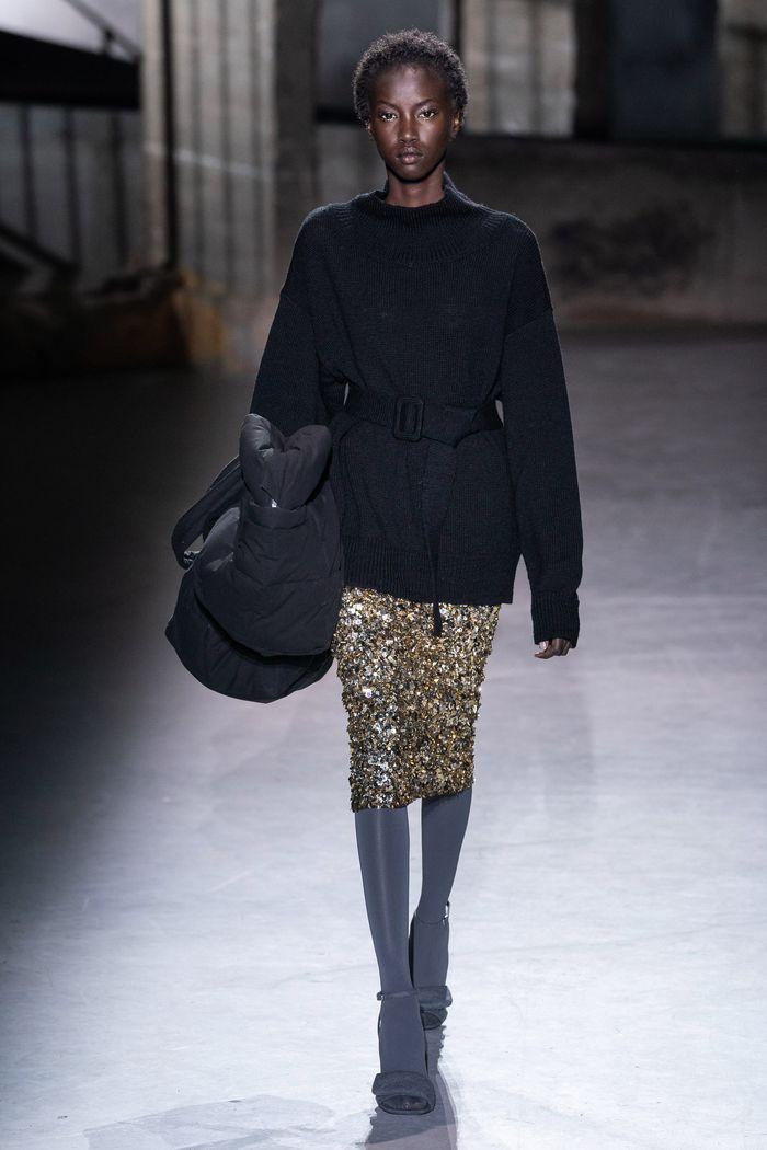 Модная юбка с паетками осень-зима 2019-2020 Dries Van Noten