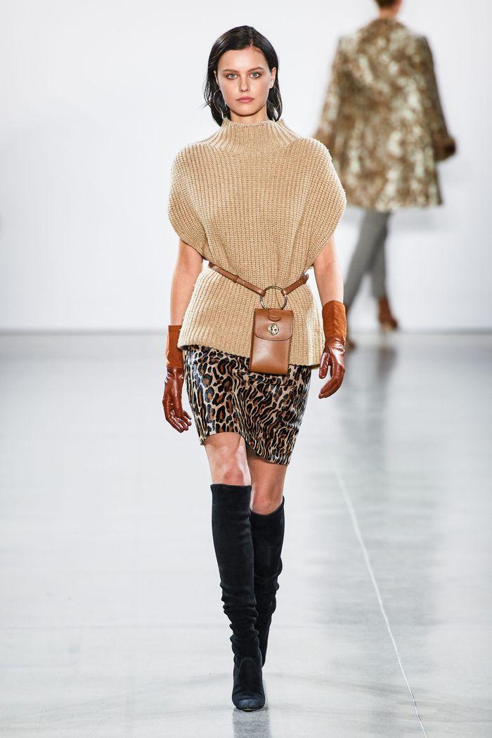 Модная юбка с анималистичным принтом осень-зима 2019-2020 Elie Tahari