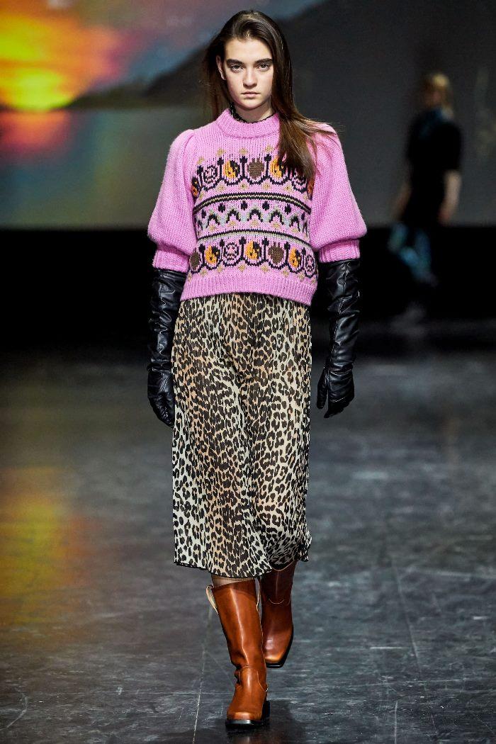 С чем носить леопардовую юбку Ganni