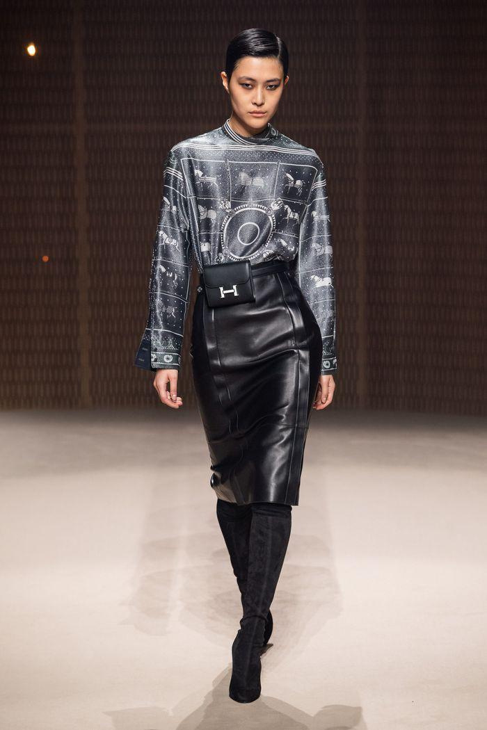 Модная кожаная юбка осень-зима 2019-2020 Hermès