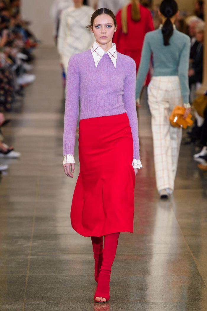 С чем носить красную юбку. Коллекция Victoria Beckham