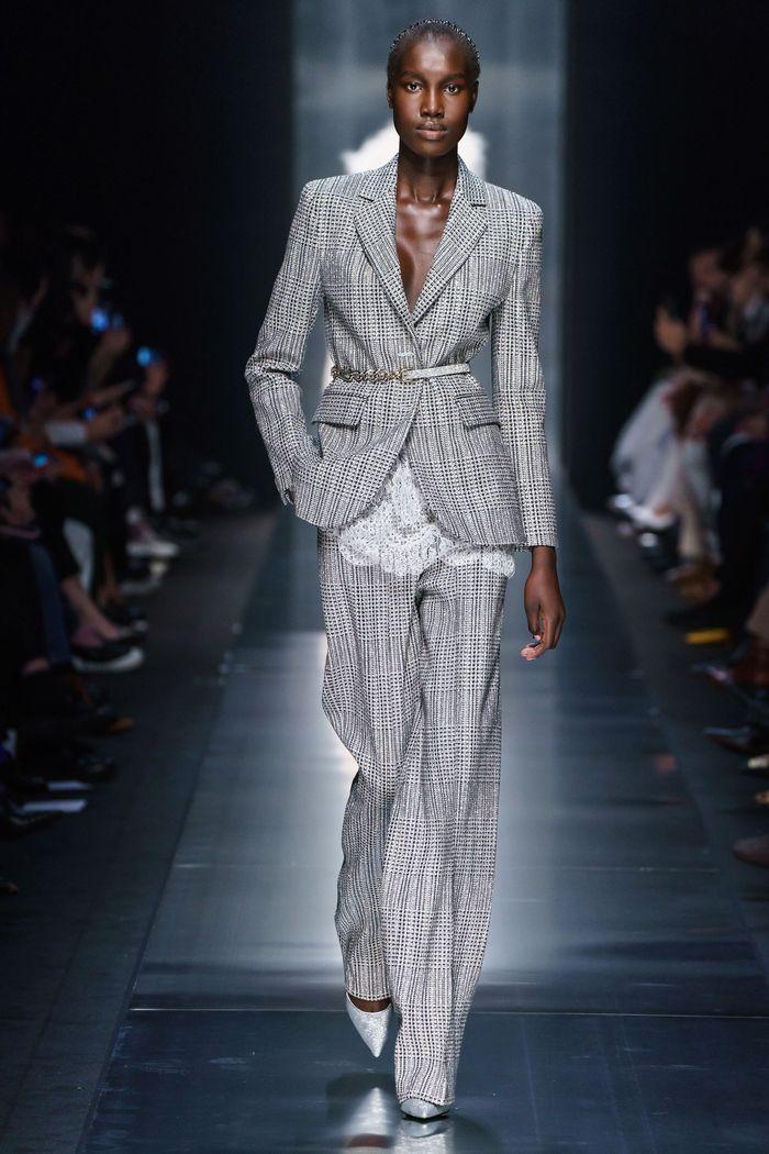 Модный серый пиджак в клетку Ermanno Scervino