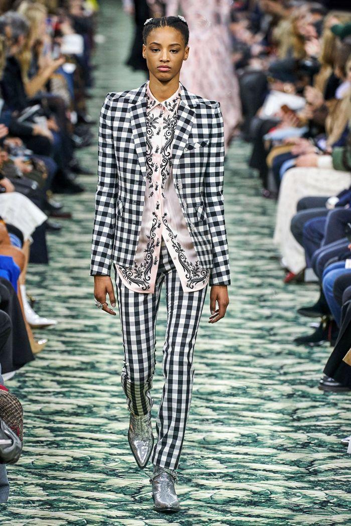Модный пиджак в черно-белую клетку Paco Rabanne