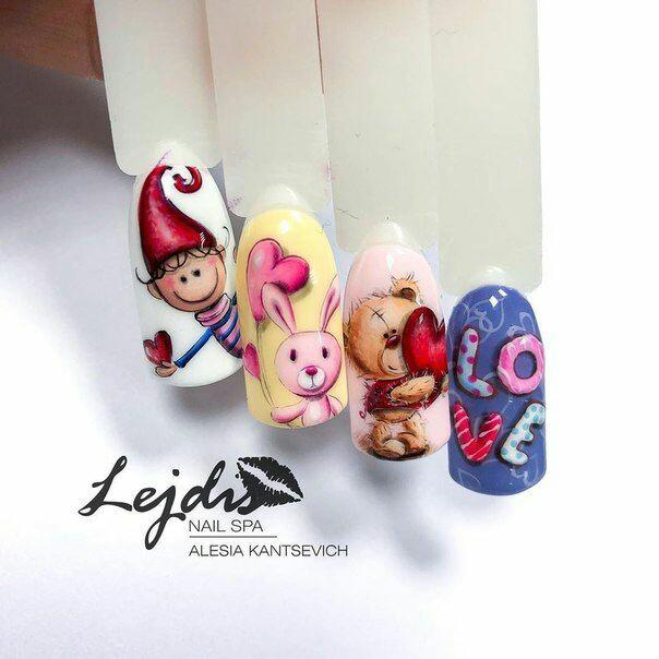 Дизайн ногтей с мультяшками