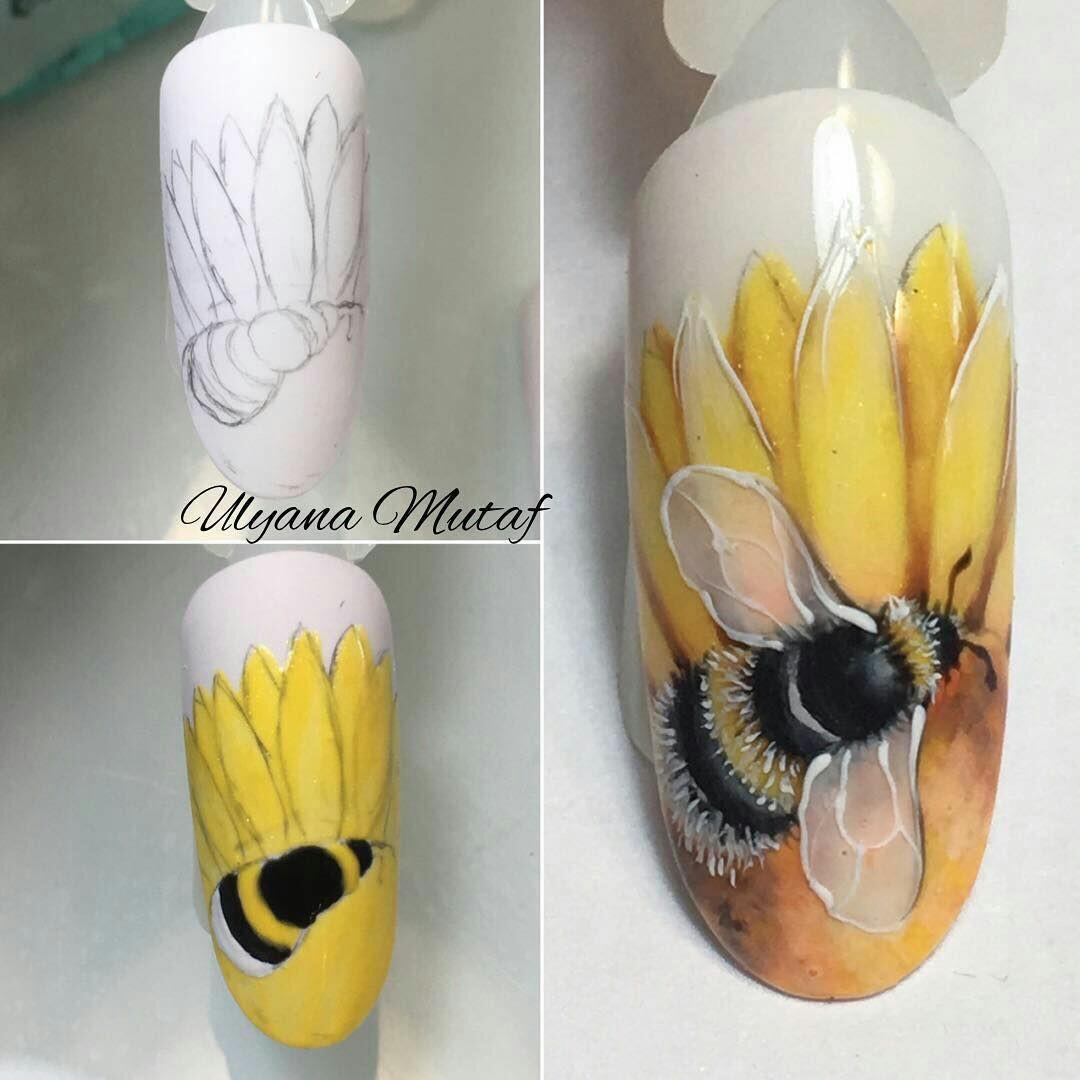 Дизайн ногтей с насекомыми