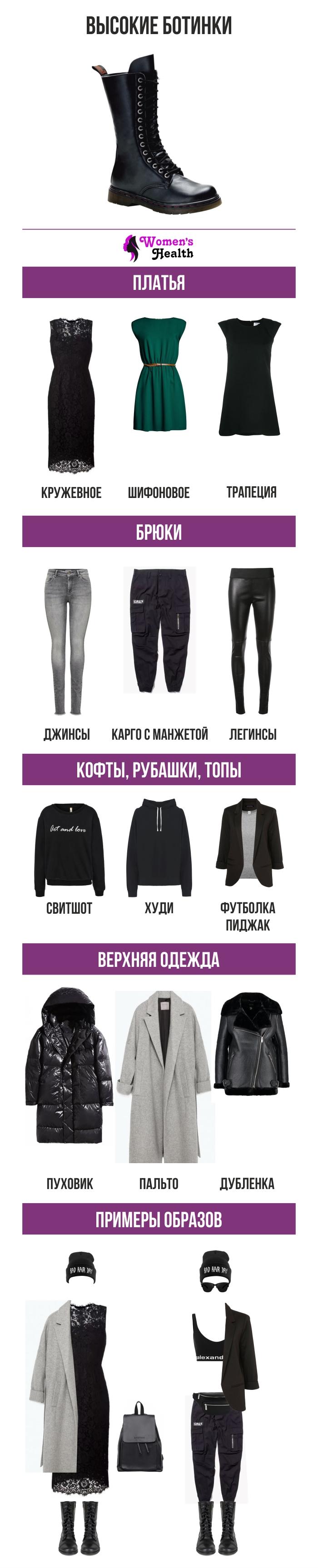 Инфографика: С чем носить высокие ботинки