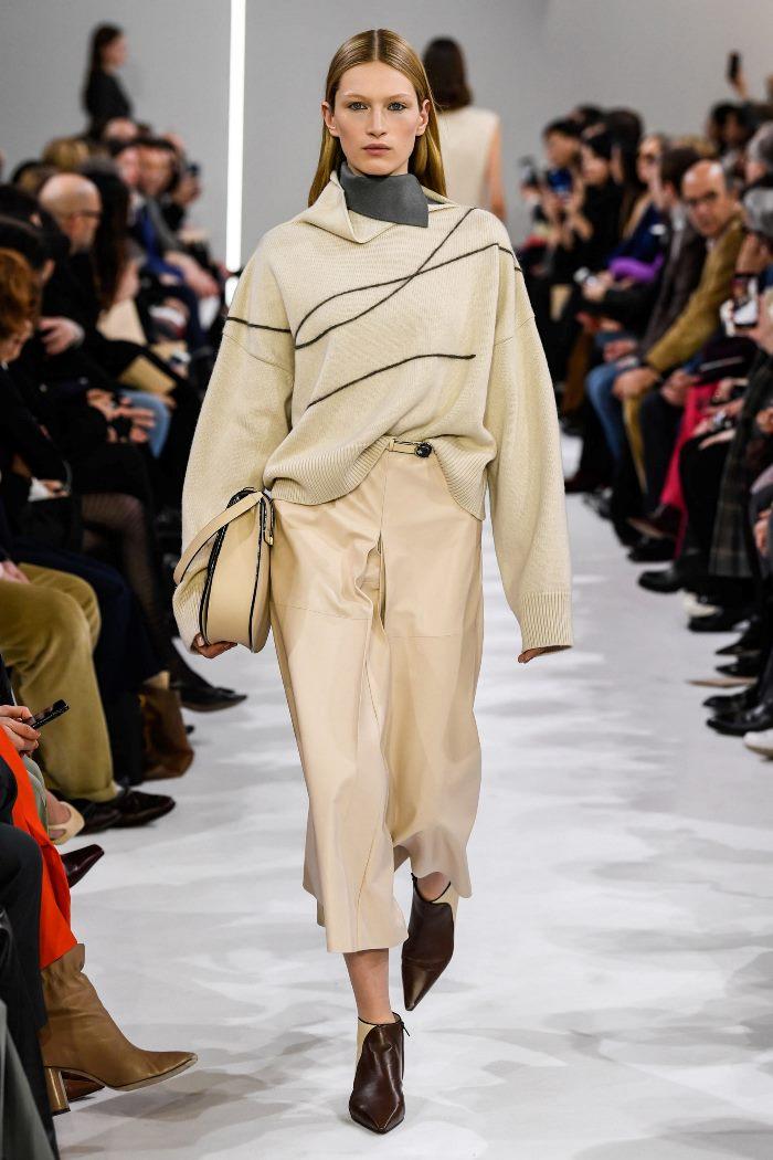 С чем носить кожаную юбку-брюки Giada
