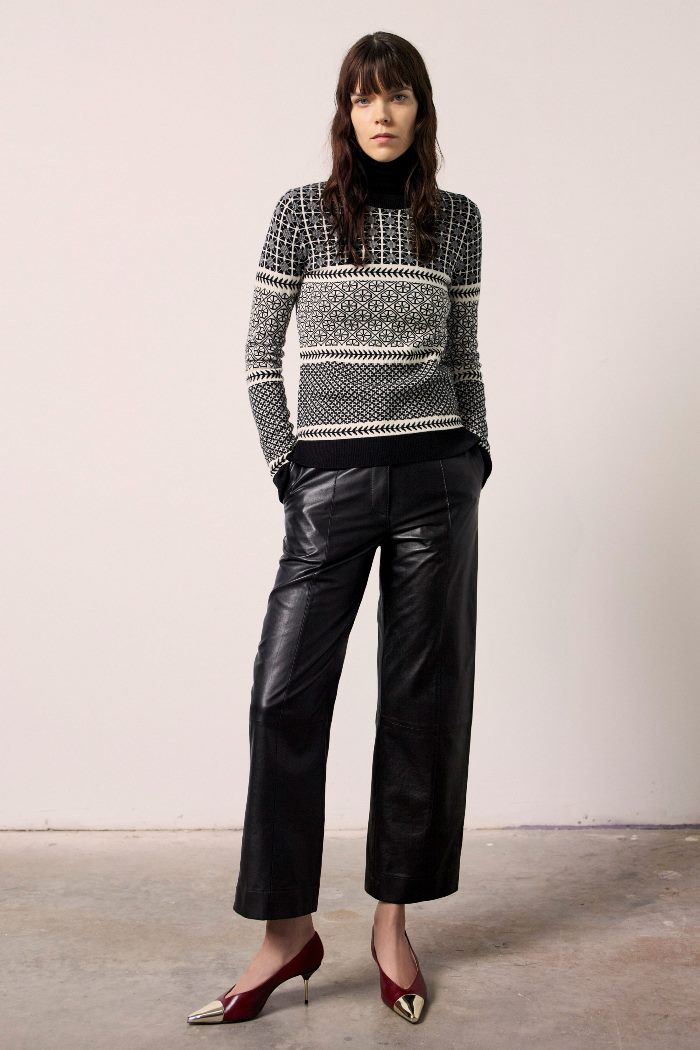 С чем носить прямые кожаные брюки. Образ из коллекции Jason Wu