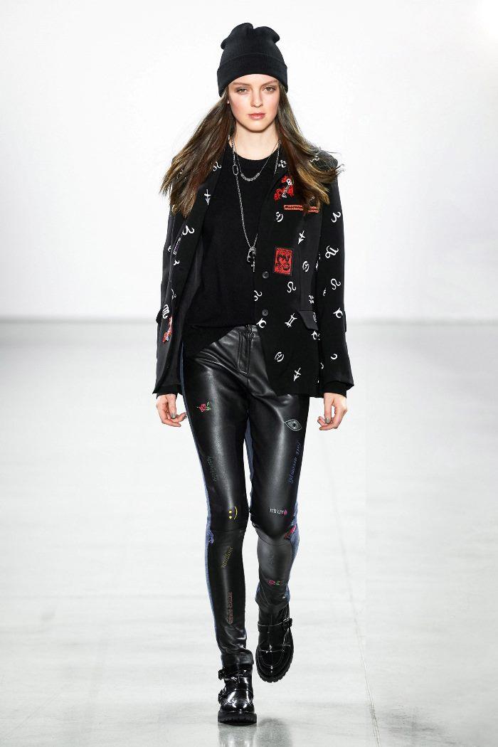 С чем носить классические кожаные брюки. Look из коллекции Nicole Miller