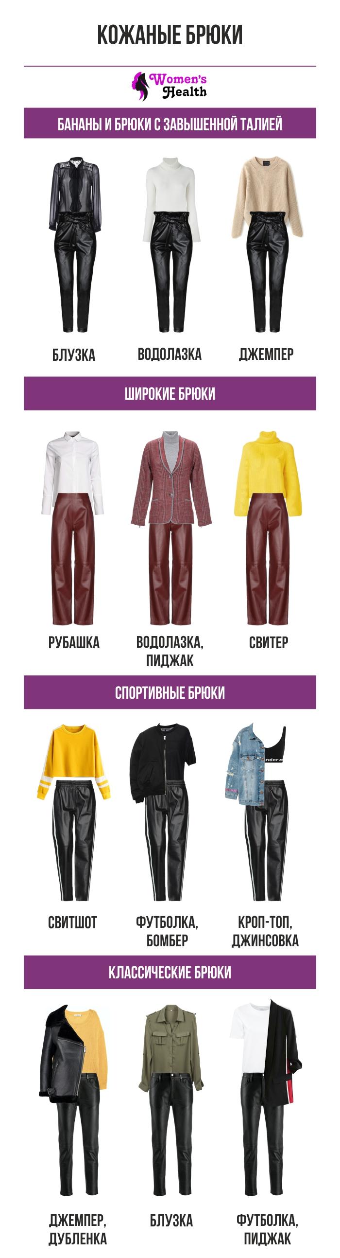 Инфографика: С чем носить кожаные брюки