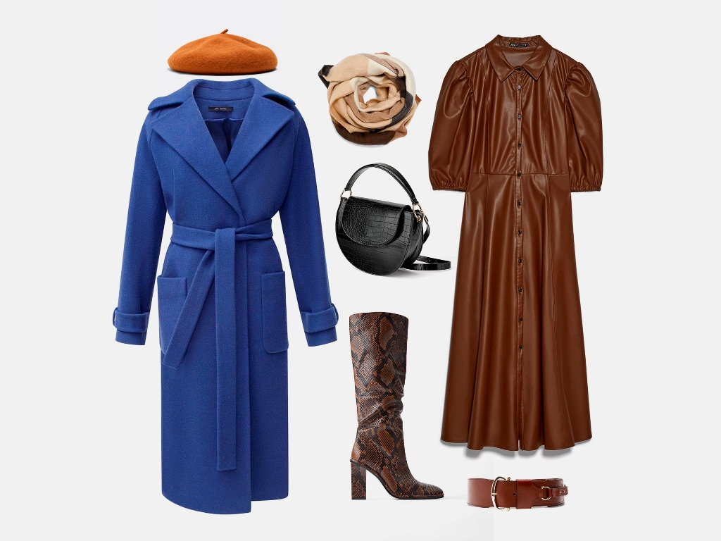 Инфографика: Какую шапку носить с синим пальто? Совет стилиста по подбору образа