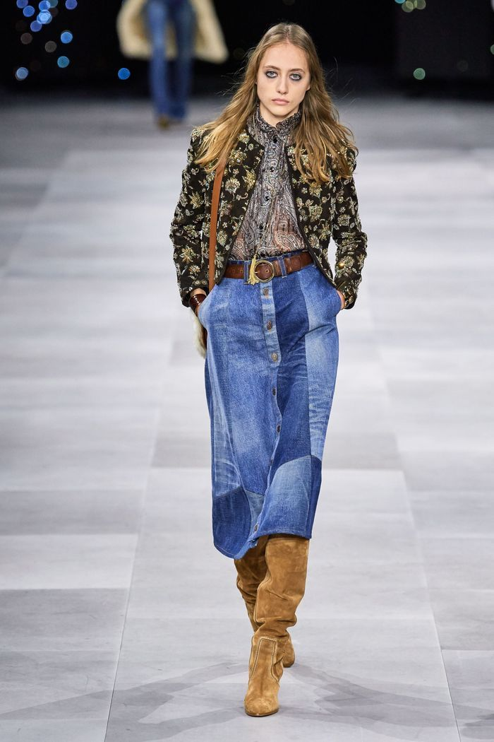 Модная длинная джинсовая юбка 2020 из коллекции Celine