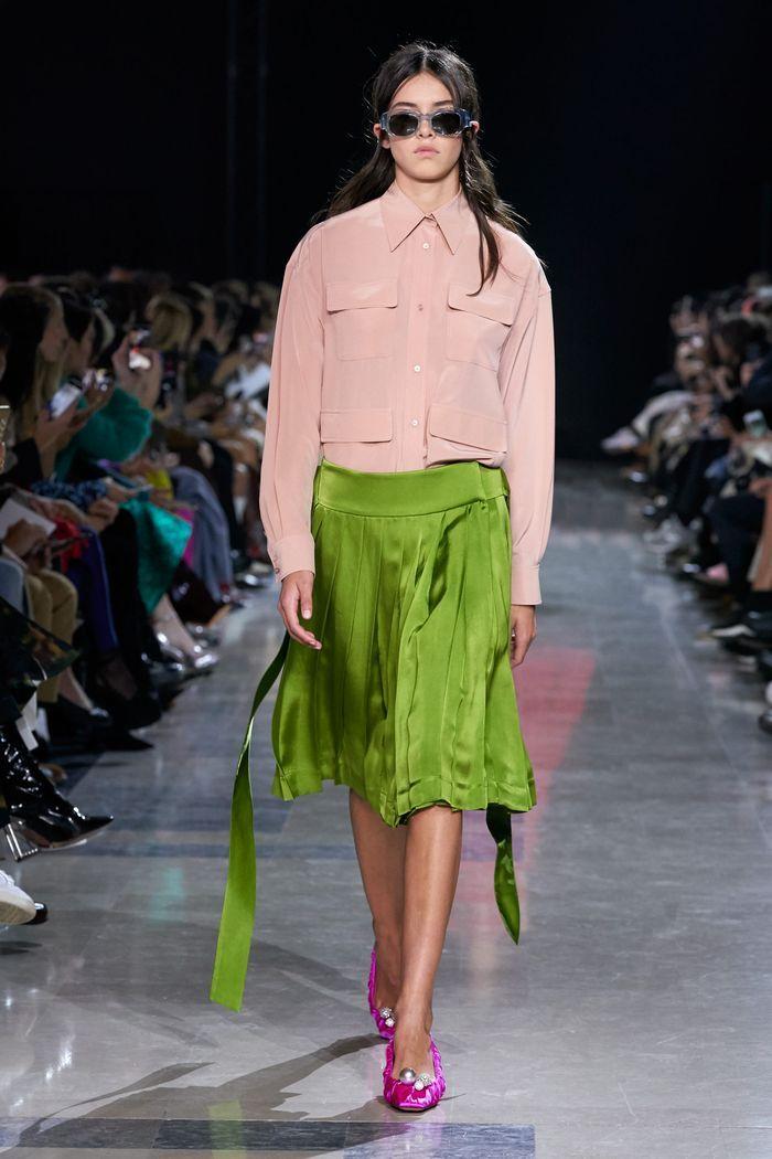 Модная зеленая юбка 2020 из коллекции Rochas