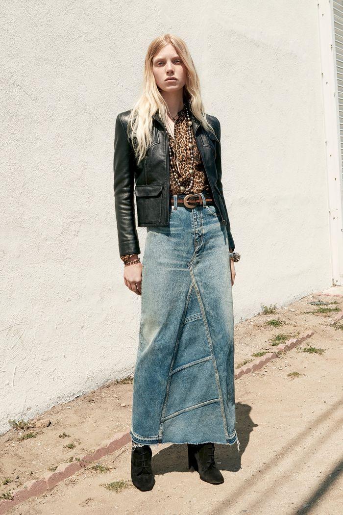 Модная длинная джинсовая юбка 2020 из коллекции Saint Laurent