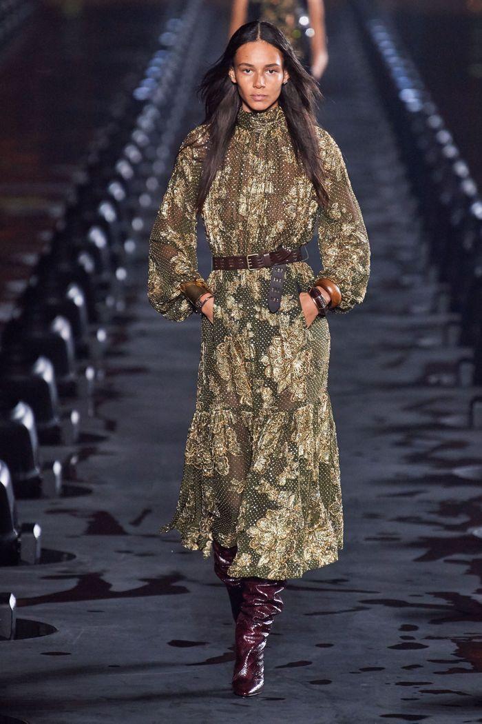 Модное длинное платье 2020 из коллекции Saint Laurent