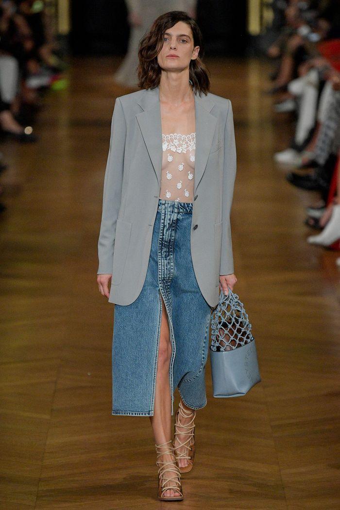 Модная длинная джинсовая юбка 2020 из коллекции Stella McCartney