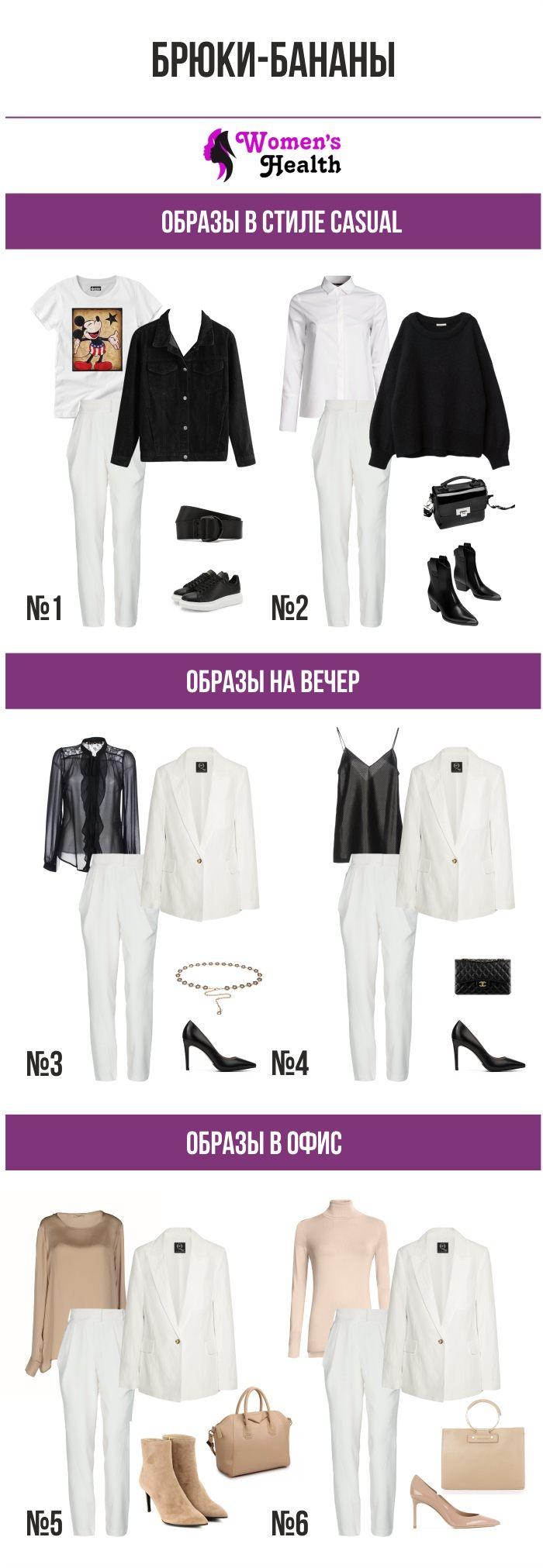 Инфоргафика: Что носить с брюками бананами. Составляем образы.