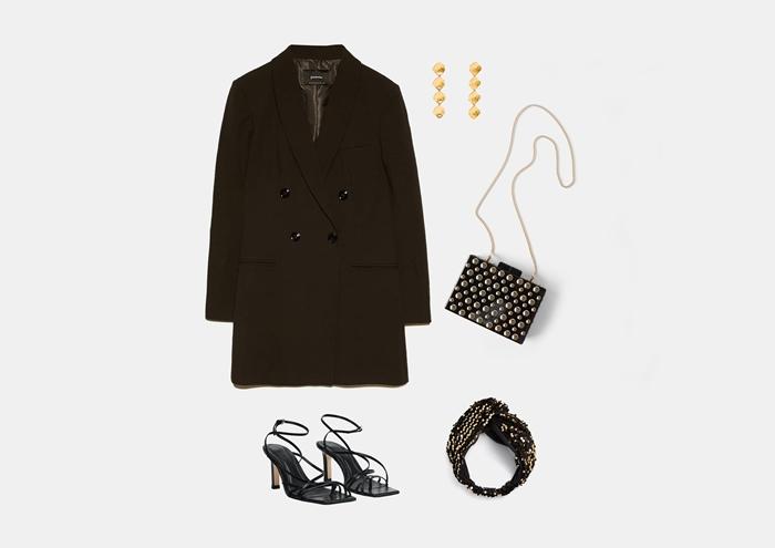 С чем носить черное платье-пиджак