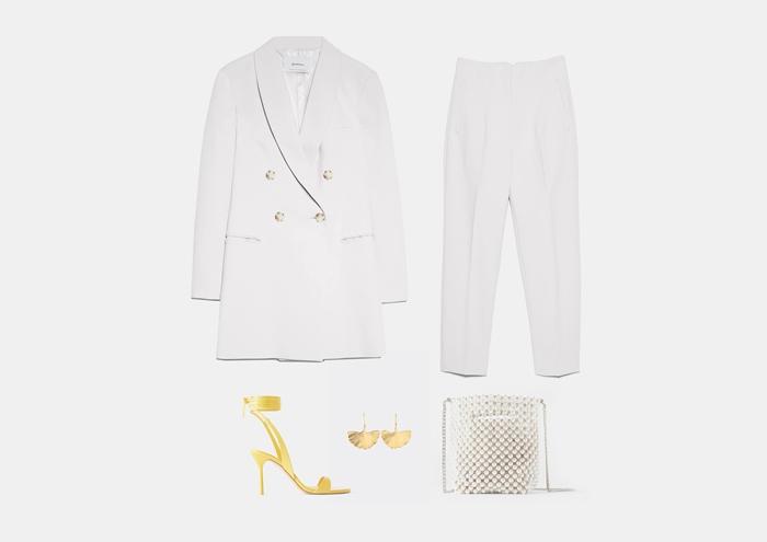 С чем носить белое платье-пиджак