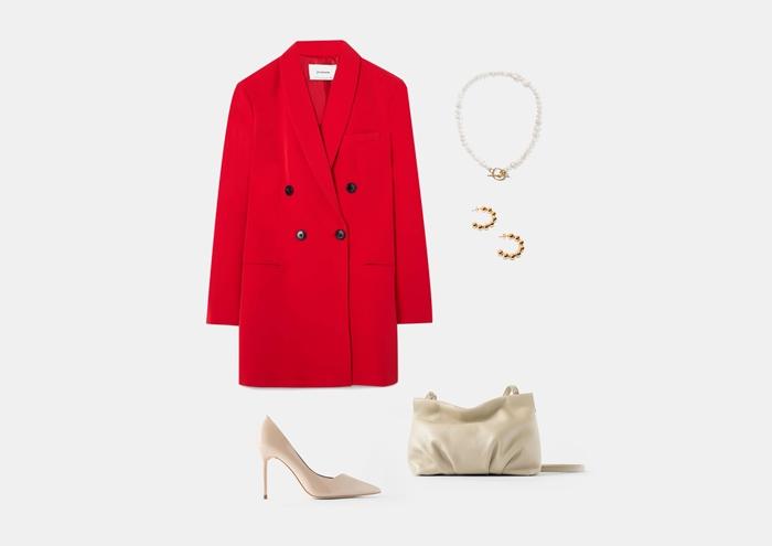С чем носить красное платье-пиджак