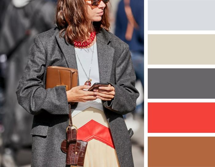 Инфографика: с какими цветами сочетается серое пальто?