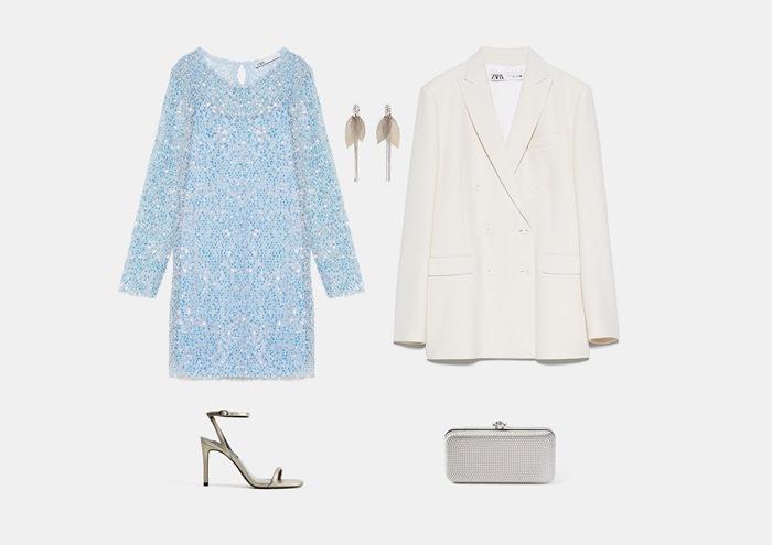 Инфографика: с чем носить светло-синее короткое прямое платье с паетками