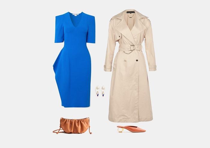 Инфографика: с чем носить синее платье-футляр
