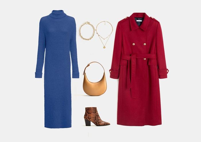 Инфографика: с чем носить синее трикотажное платье