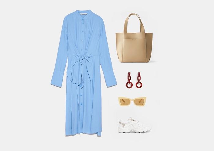 Инфографика: с чем носить синее длинное платье-рубашку