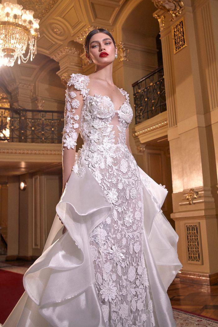 Модное свадебное платье с воланами из коллекции 2020 Galia Lahav