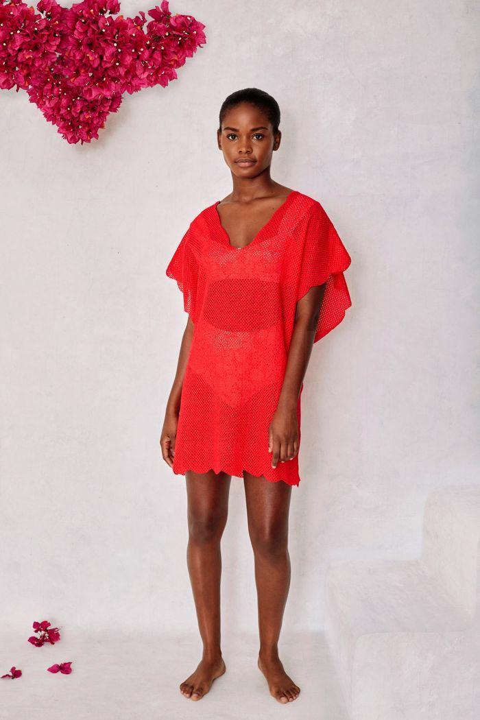 Модное короткое пляжное платье с фестонами из коллекции 2020 Marysia