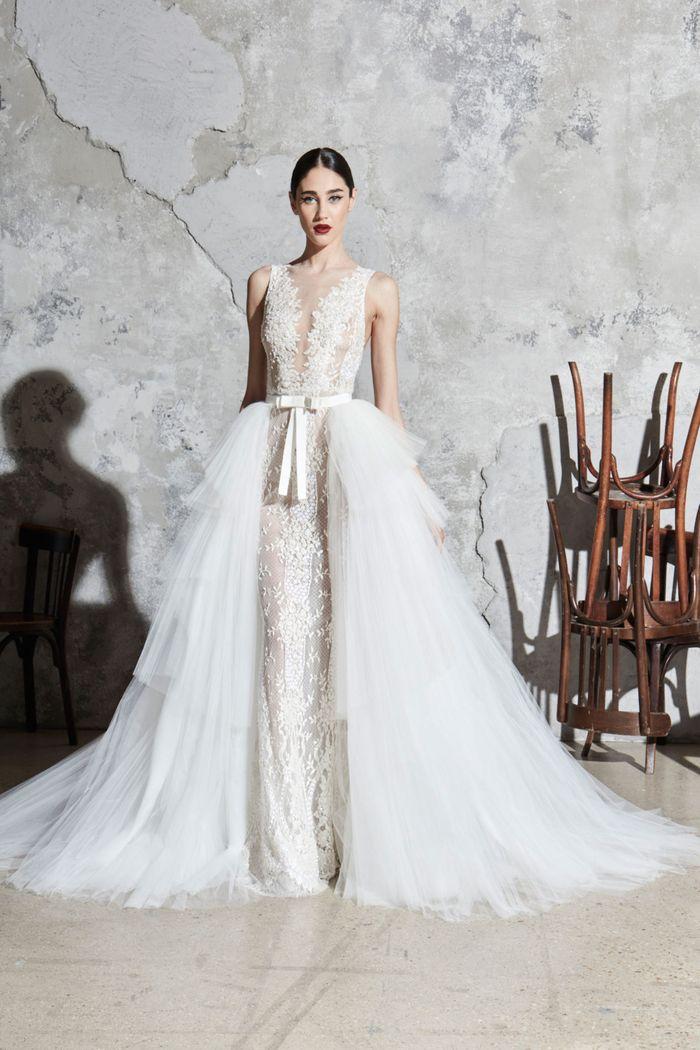 Модное свадебное платье со съемным шлейфом из коллекции 2020 Zuhair Murad