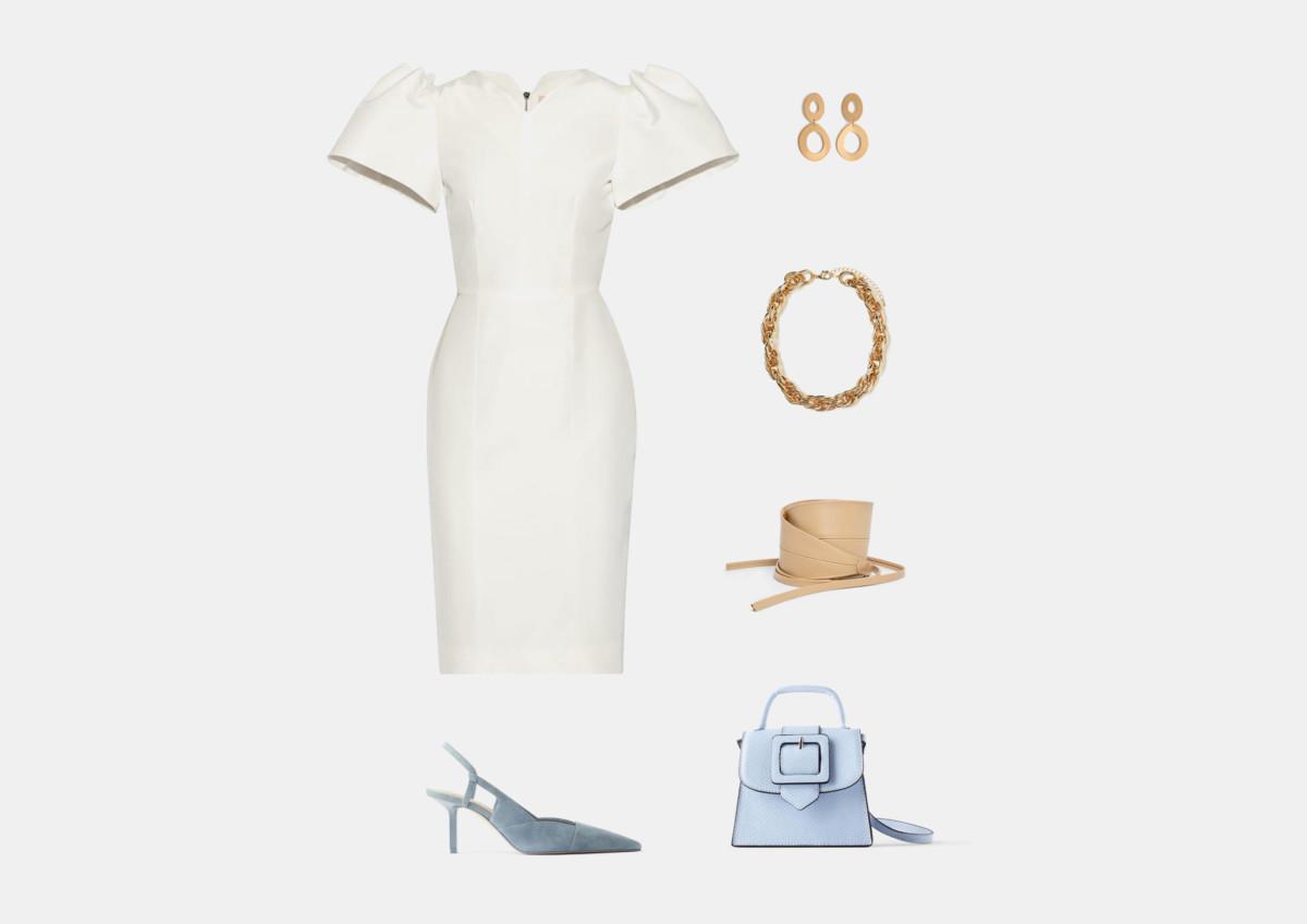 Инфографика: с чем носить белое платье-футляр