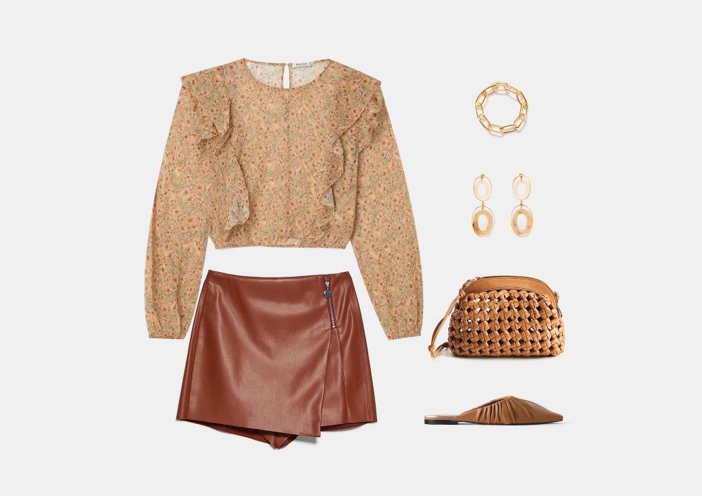 Инфографика: с чем носить коричневую кожаную юбку-шорты