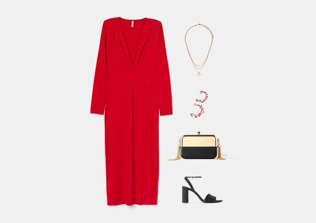 Инфографика: образ с красным платьем на выпускной 2020