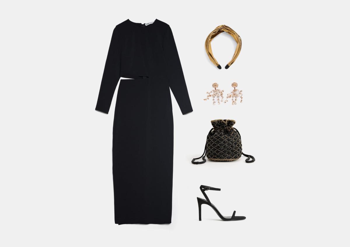 Инфографика: образ с черным длинным платьем на выпускной 2020