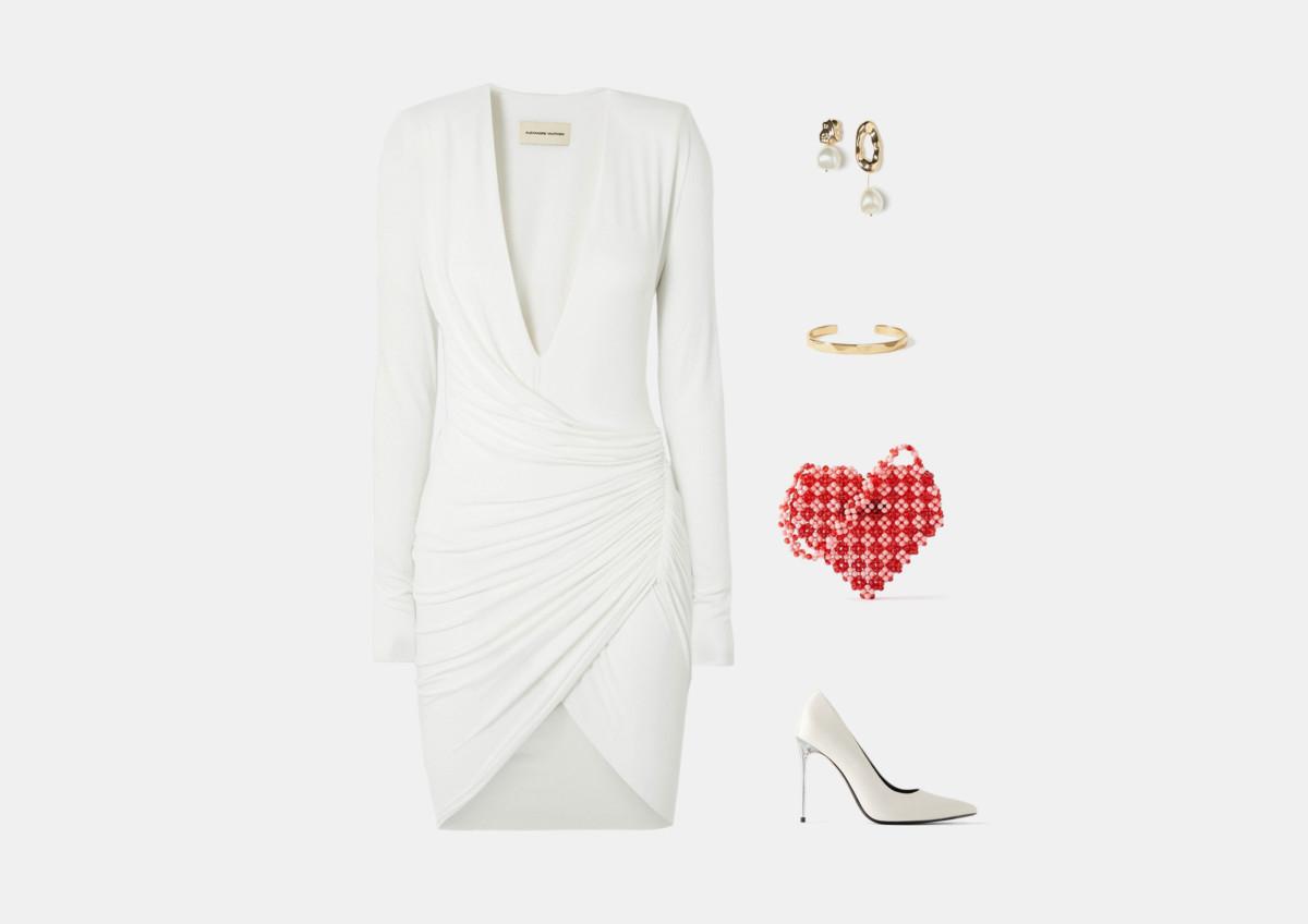 Инфографика: образ с коротким белым платьем на выпускной 2020