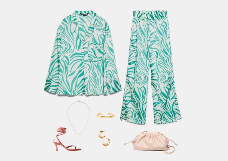 Инфографика: пример яркого комплекта на лето с широкими пижамными брюками
