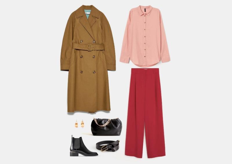Инфографика: пример комплекта на осень с брюками палаццо