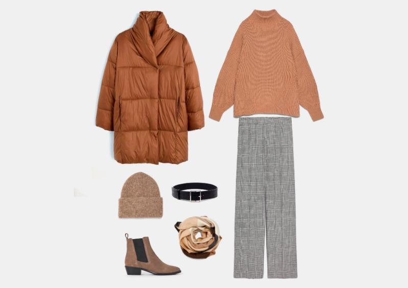 Инфографика: пример теплого комплекта на зиму с широкими брюками