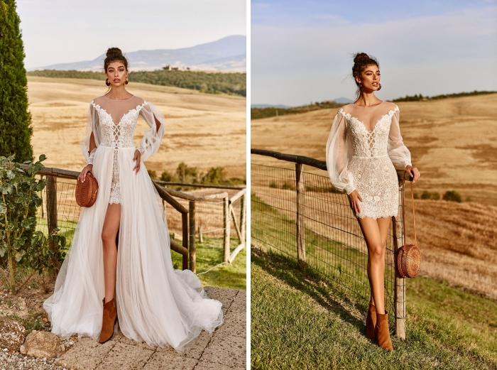 Свадебное платье с длинным шлейфом