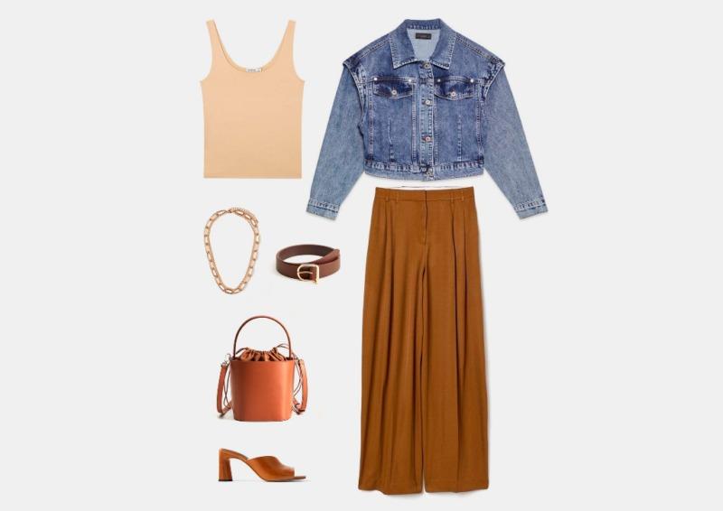 Инфографика: совет от стилиста, с чем носить широкие завышенные брюки