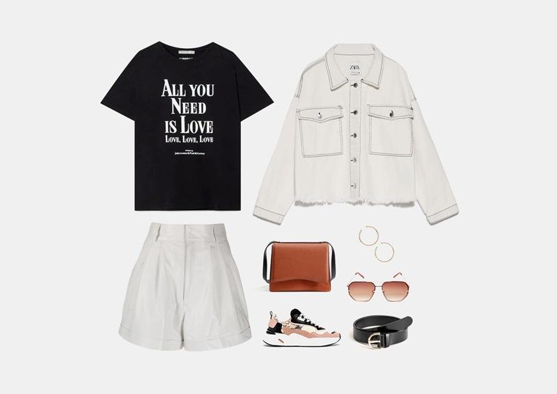 Инфографика: с чем носить белые кожаные шорты