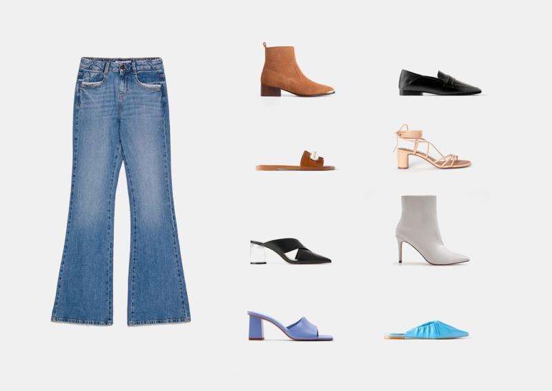 Инфографика: с какой обувью носить джинсы клеш