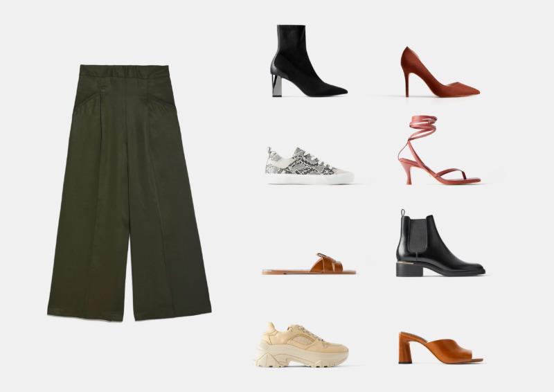 Инфографика: какая обувь подходит к брюкам кюлотам