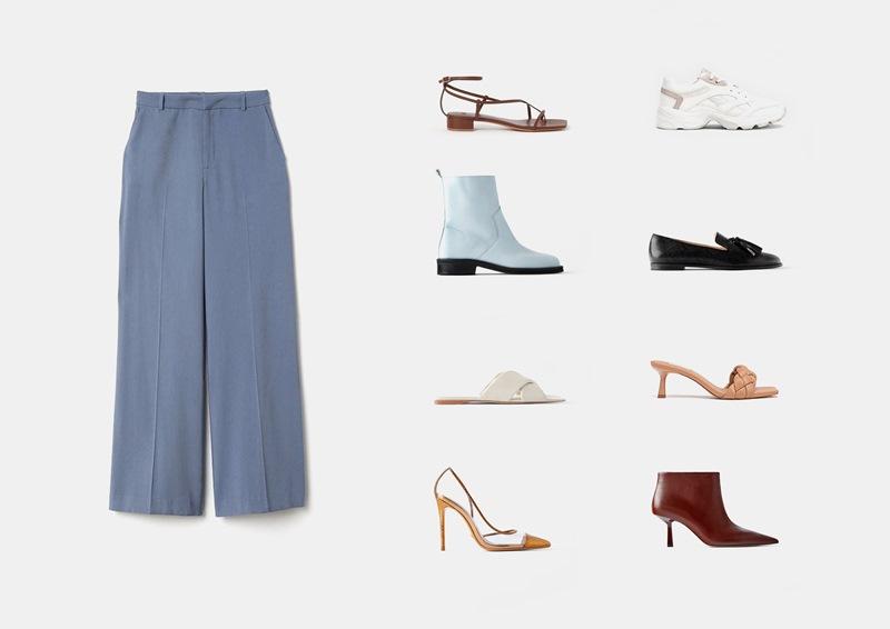 Инфографика: подбираем обувь к широким женским брюкам