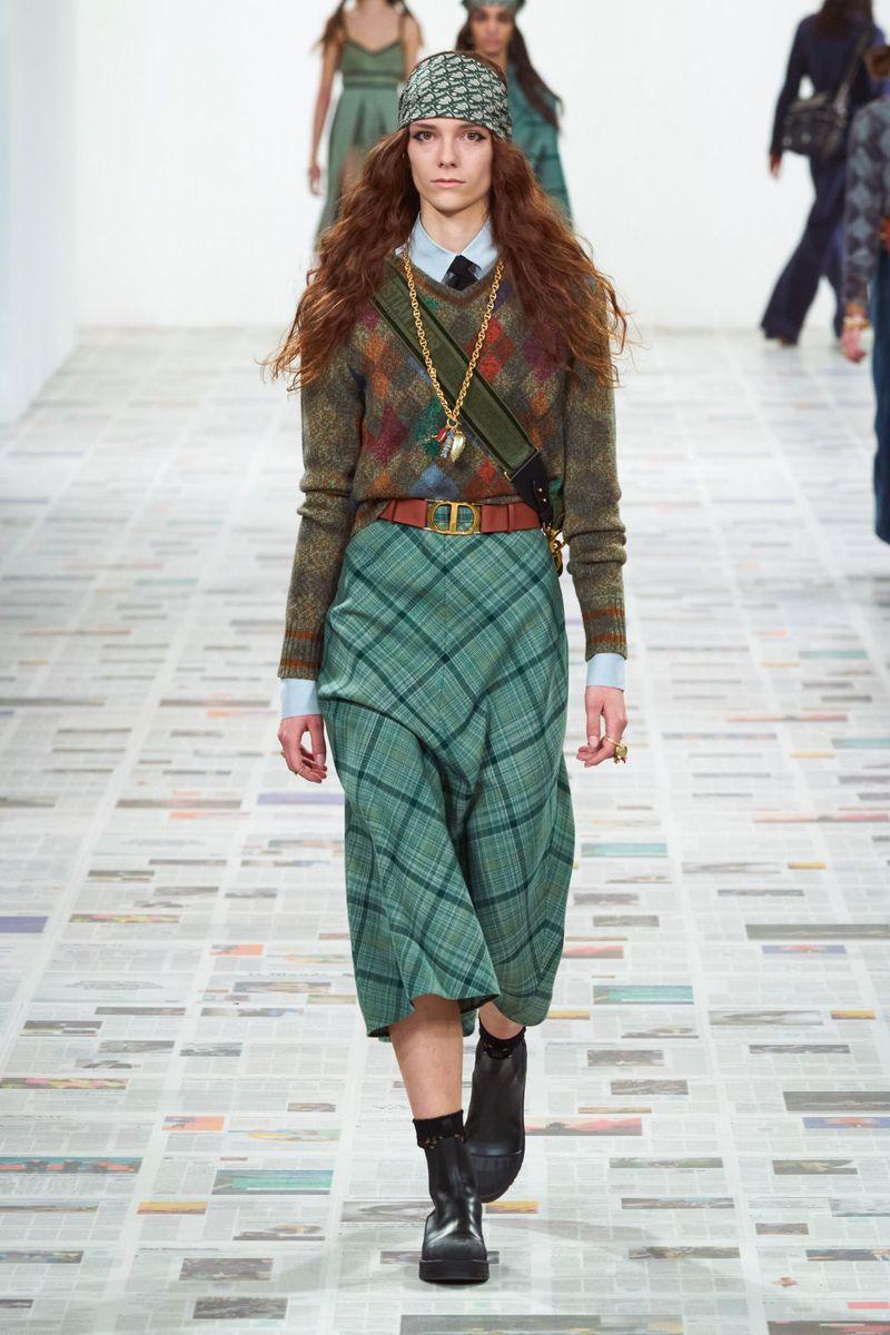 Модные клетчатые юбки осень-зима 2020-2021 из коллекции Christian Dior