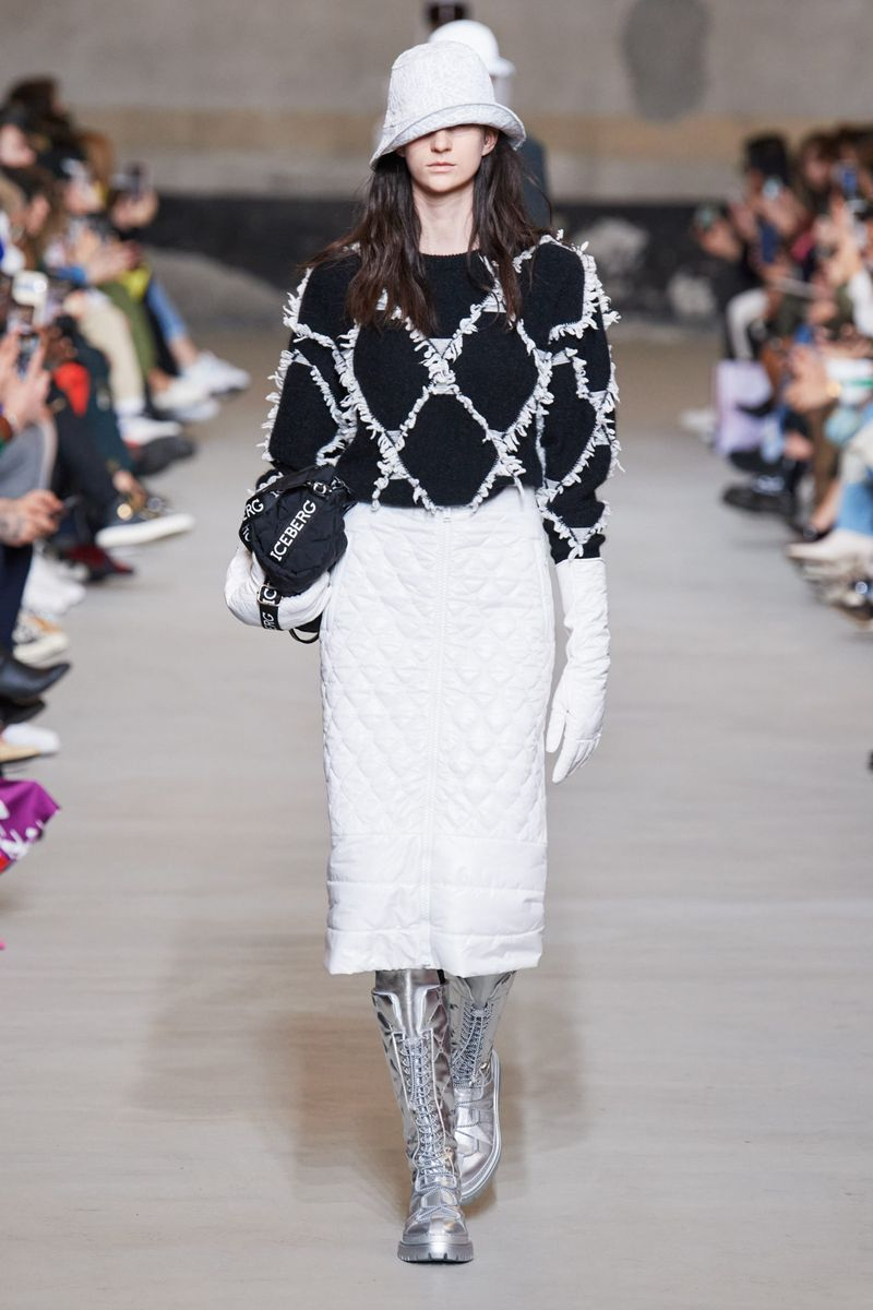 Модная стеганая юбка осень-зима 2020-2021 из коллекции Iceberg