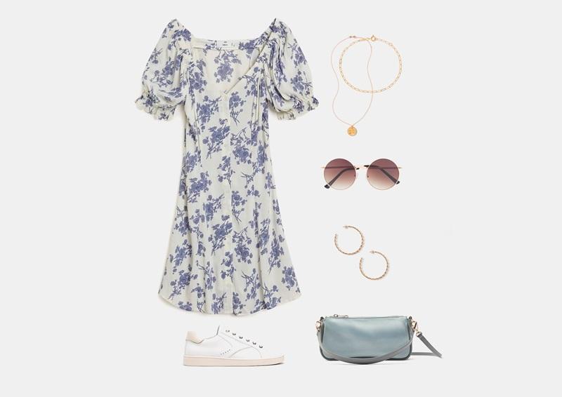 Комплект на лето с белым шифоновым платьем