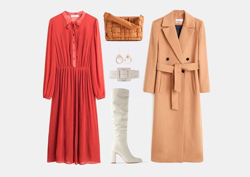 Комплект на осень с ярким красным платьем из шифона